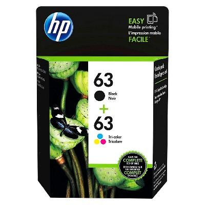 HP 63 2pk Ink Cartridges - Black, Tri-color (L0R46AN_140)