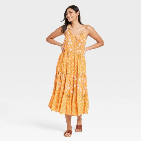 Women's Floral Print Sleeveless Tiered Dress - Universal Thread™ Yellow - image 1 of 3