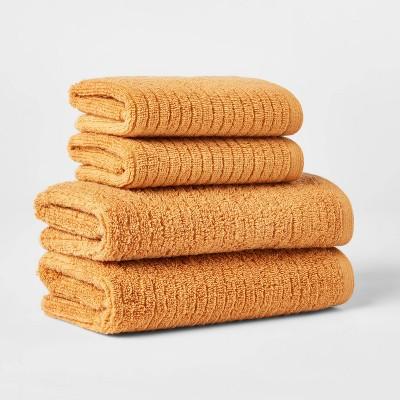 4pk Quick Dry Ribbed Hand/Wash Towel Set Gold - Threshold™