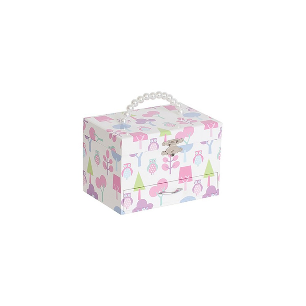 Mele & Co. Molly Girls' Musical Ballerina Jewelry Box with Owl Pattern-White, White Perfect for the little lady in your life, this Mele and Co. Molly Girls' Musical Ballerina Fairy and Flowers Jewelry Box with Owl Pattern in Pink is a must. Featuring an adorable owl print, musical ballerina, and enough space for her treasures, she'll adore this jewelry box. Color: White. Gender: Female.