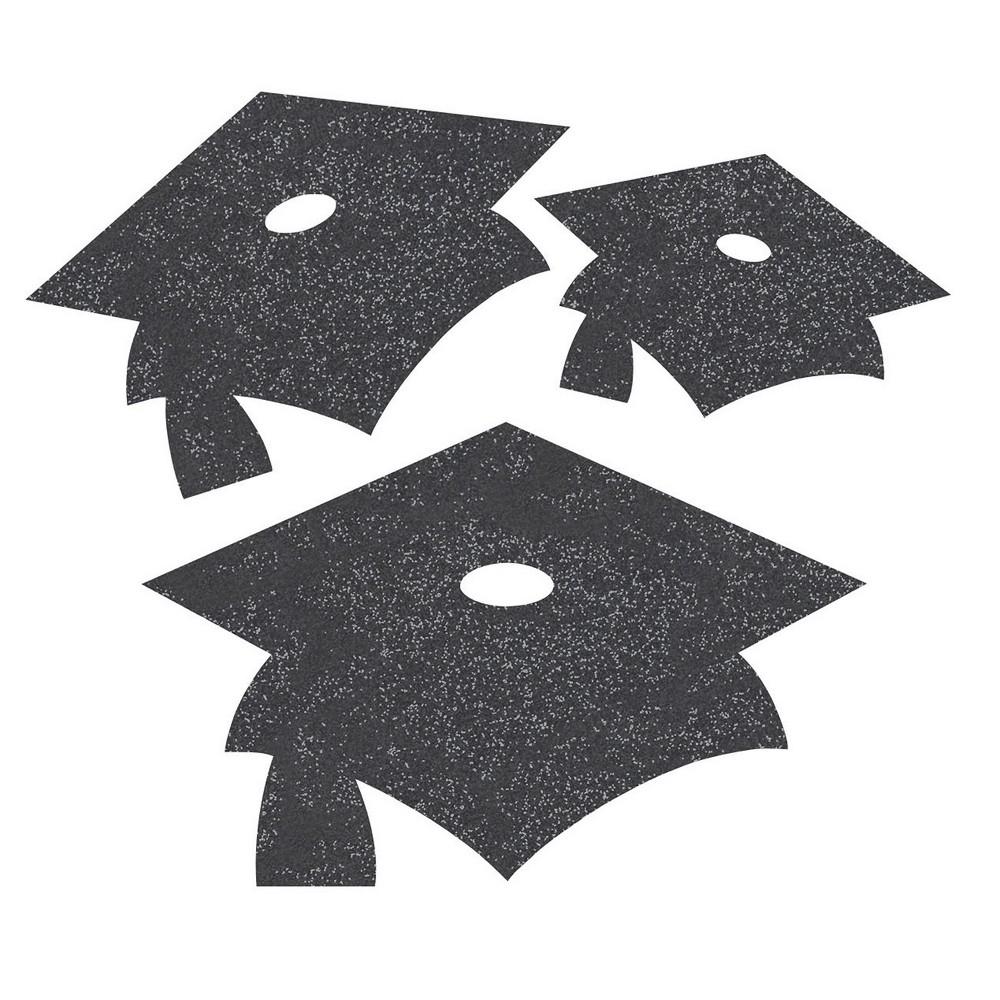 Image of 12ct Black Mortarboard Graduation Cutouts