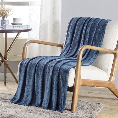Sabina Embossed Geometric Pattern Soft Flannel Throw Blanket - 50 x 60