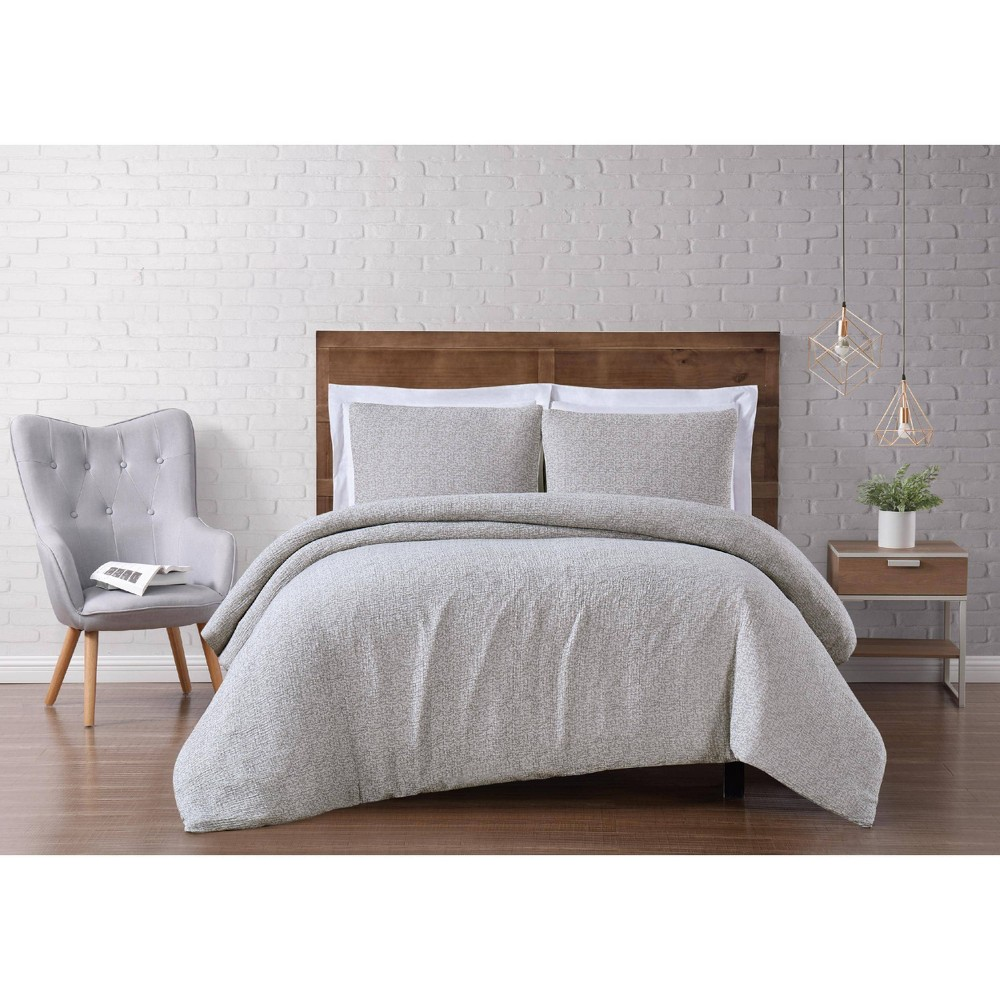 Image of Full/Queen 3pc Solid Woven Matelasse Duvet Cover Set Gray - Brooklyn Loom
