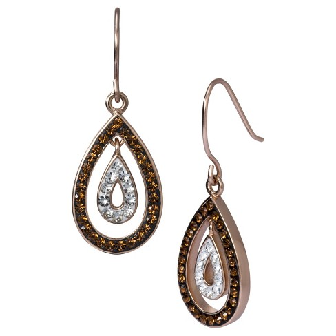 Dangle Earrings with Crystals - Brown - image 1 of 1