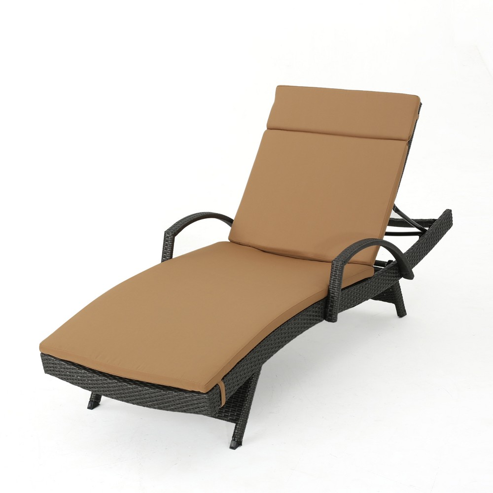 Salem Gray Wicker Adjustable Chaise Lounge with Arms - Caramel - Christopher Knight Home
