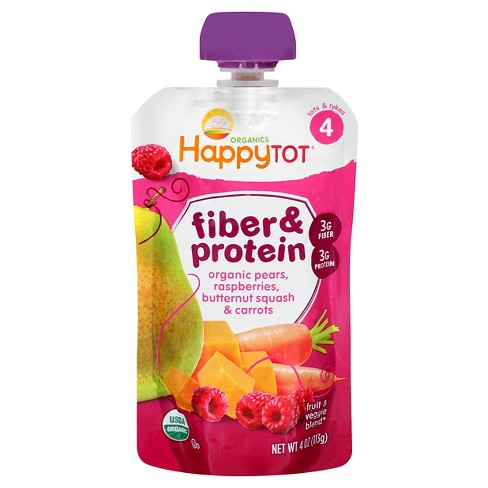 HappyTot Organics Fiber & Protein Toddler Food Pears, Raspberries, Butternut Squash & Carrots - 4oz - image 1 of 4