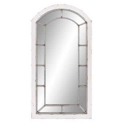 "24"" x 44"" Antique Arch Windowpane Decorative Wall Mirror Metal/Off White - Patton Wall Decor"