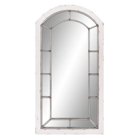 White Patton Wall Decor, White Decorative Window Pane Mirror