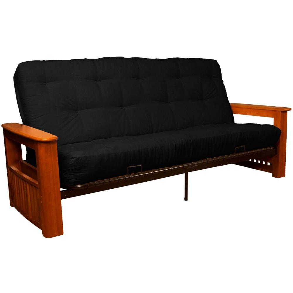 Flip Top Arm 8 Cotton/Foam Futon Sofa Sleeper Walnut Wood Finish Black - Epic Furnishings