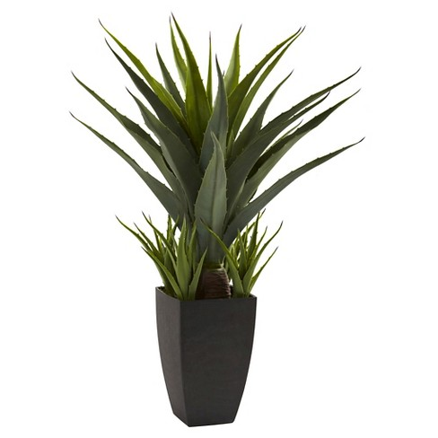 Nearly Natural Agave with Black Planter Green - image 1 of 2