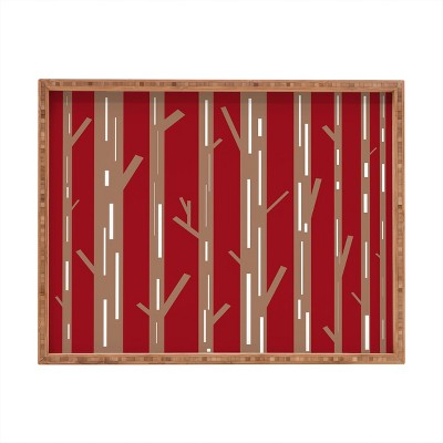 Lisa Argyropoulos Modern Trees Red Rectangular Bamboo Tray - Deny Designs