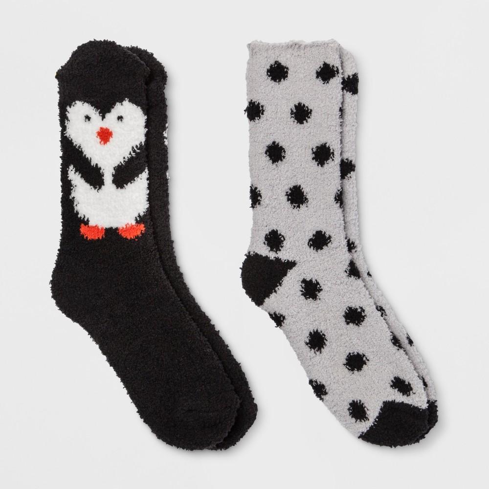 Women's 2pk Penguin Cozy Crew Socks - Black One Size