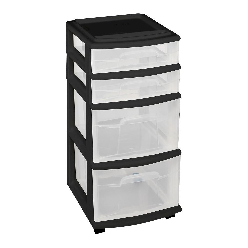 Image of Homz 4-Drawer Medium Rolling Storage Cart - Black