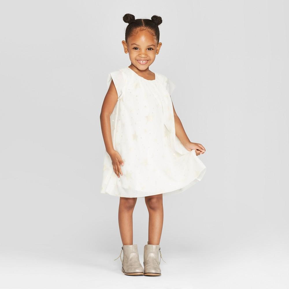 Toddler Girls' Foil Tulle A-Line Dress - Cat & Jack Cream 5T, White