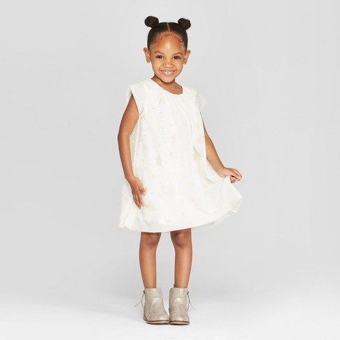 b5735b4dd74e6 Toddler Girls' Foil Tulle A-Line Dress - Cat & Jack™ Cream : Target