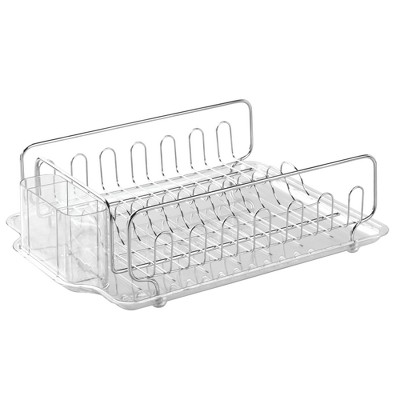 InterDesign Forma Lupe Stainless Steel Dish Drainer Large Clear