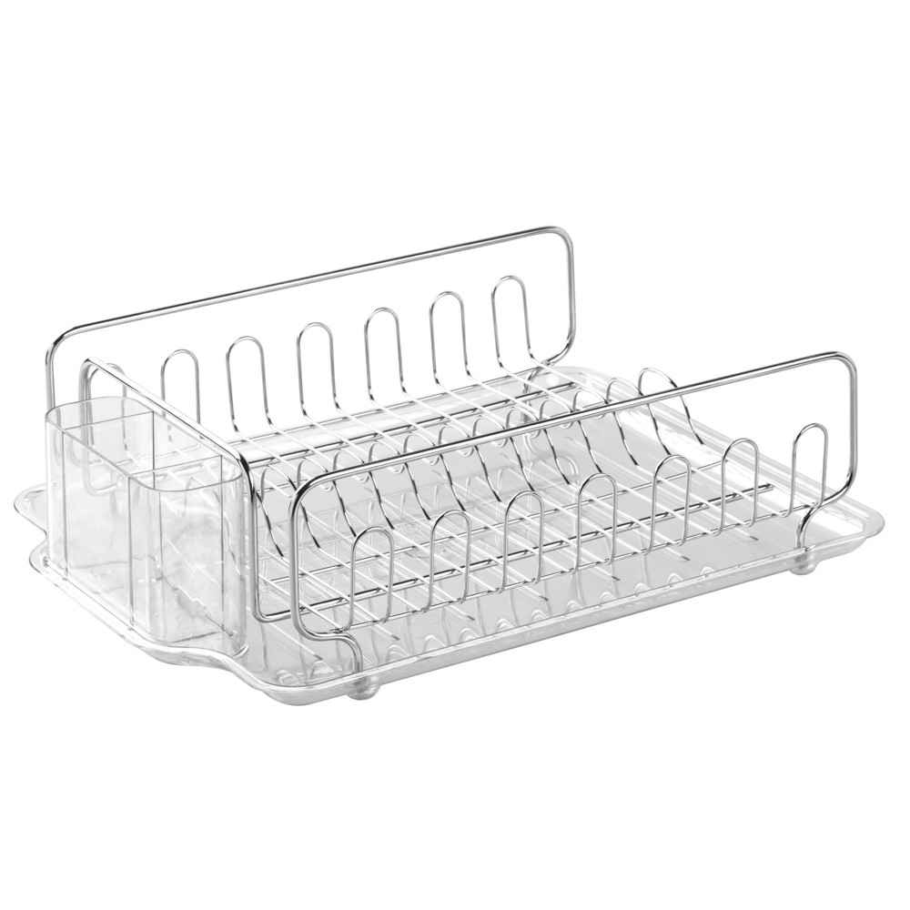 Image of InterDesign Forma Lupe Stainless Steel Dish Drainer Large Clear
