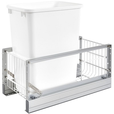 Rev-A-Shelf 5349-15DM-1 22 x 10.75 x 19.25 Inch 35 Quart Kitchen Cabinet Pull Out Waste Container Storage with Trash Can and Wire Basket