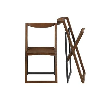2pk Sydney Folding Chairs Wire Brush Chestnut - Boraam