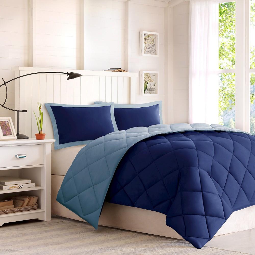 3pc King Windsor Reversible Down Alternative Comforter Set with 3M Stain Resistance Finishing Navy/Light Blue, Navy&light Blue