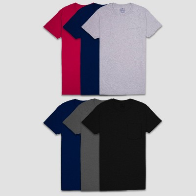 Fruit of the Loom Men's Pocket Crewneck T-Shirt Undershirt 6pk