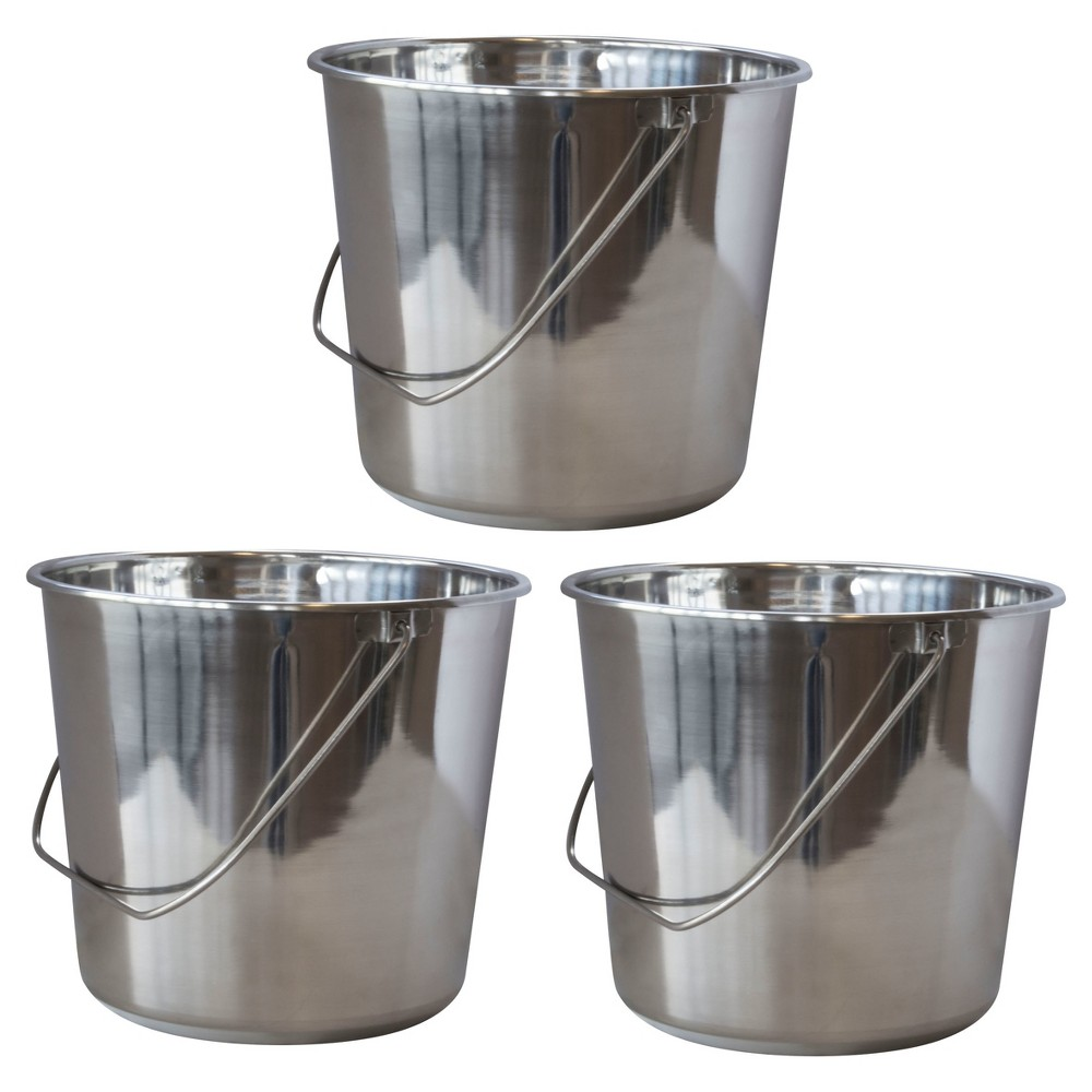 Image of 3pc Stainless Steel Bucket Set 16 Liters - Silver - AmeriHome