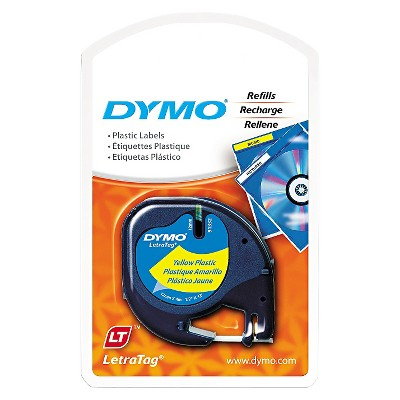 DYMO LetraTag Plastic Label Tape Cassette - 1/2in x 13ft - Hyper Yellow