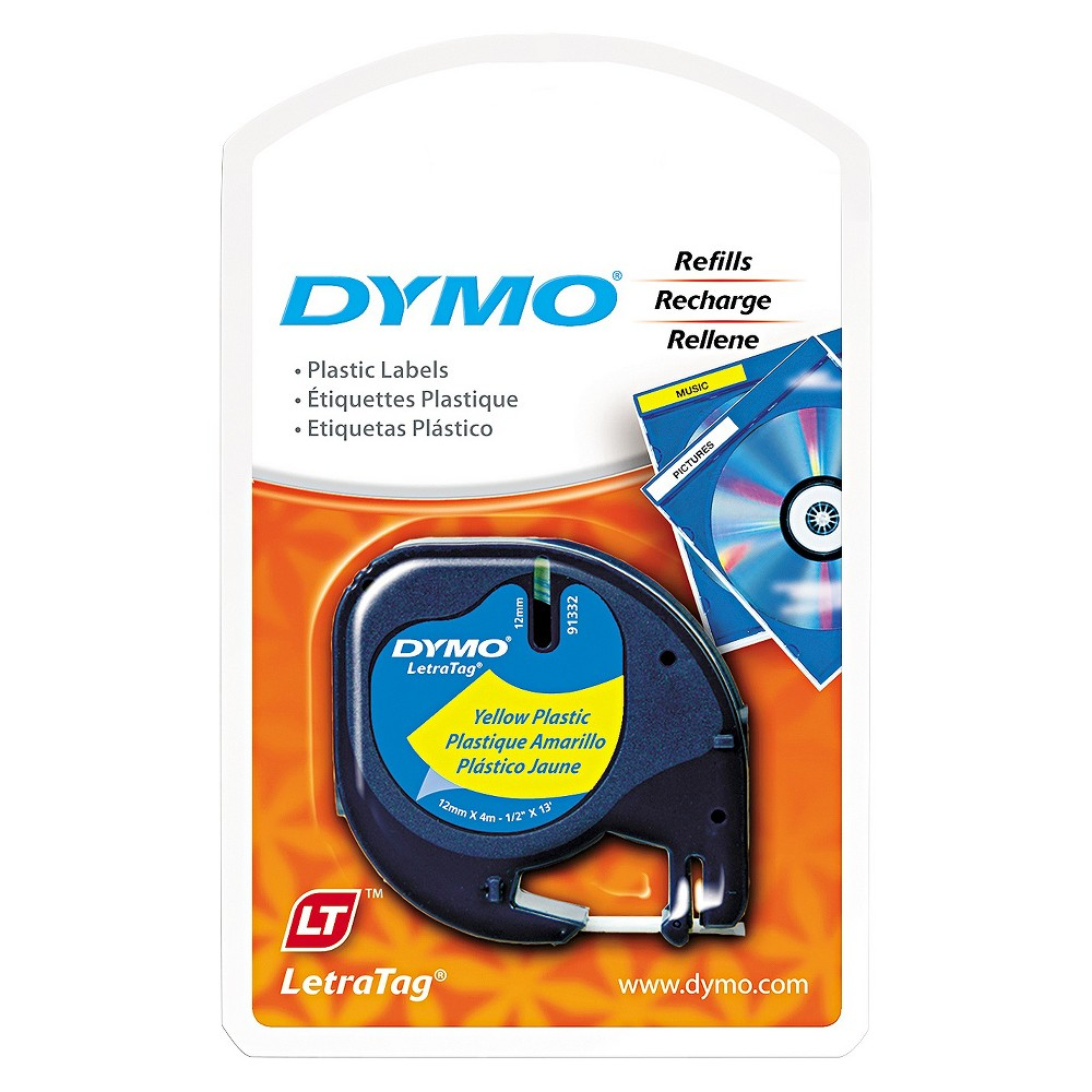 Dymo LetraTag Plastic Label Tape Cassette, 1/2in x 13ft, Hyper Yellow, Black