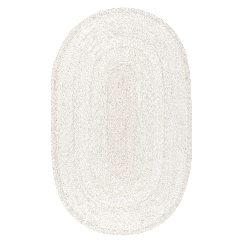 Image of 3'x5' Oval Solid Woven Area Rug Off White - nuLOOM
