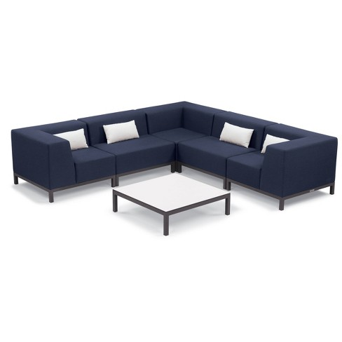 6pc Koral Modular Sectional Set with Pillows - and Table Carbon/Spectrum Indigo - Oxford Garden - image 1 of 2