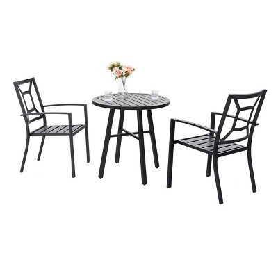 3pc Metal Table & Chairs - Black - Captiva Designs