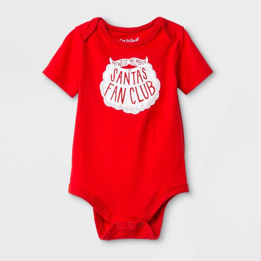 "Baby ""Santa's Fan Club"" Bodysuit - Cat & Jack Red Newborn, Kids Unisex"