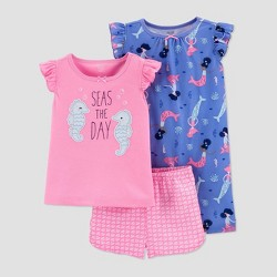 Baby Girls' 3pc Seahorses Pajama Set - Just One You® made by carter's Pink