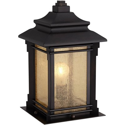 """Franklin Iron Works Asian Outdoor Light Fixture Bronze 16.5"""" Textured Glass for Exterior House Porch Patio"""