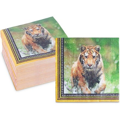 Sparkle and Bash 150 Pack Safari Birthday Party Disposable Paper Napkins with Tigers 6.5 In