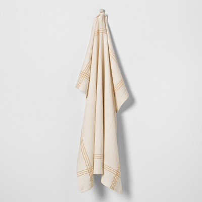 Flour Sack Towel Cream with Golden Lotus Trim - Hearth & Hand™ with Magnolia