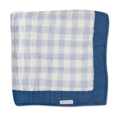 Honest Baby Organic Cotton Hand-Quilted Blanket - Blue Ticking Stripe