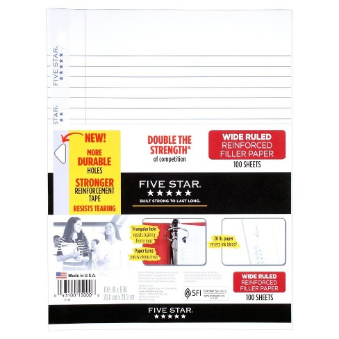 Five Star Filler Paper Wide Ruled Reinforced 200ct - image 1 of 1