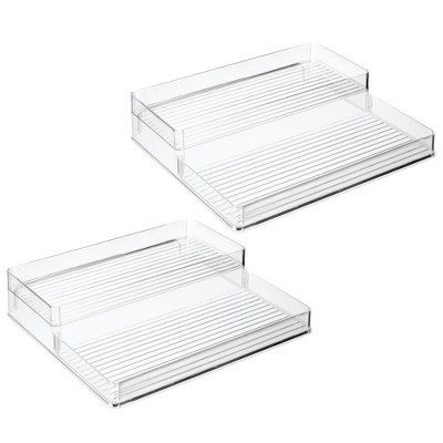 mDesign Plastic Kitchen Tiered Canned Food Storage Shelves - 2 Pack - Clear