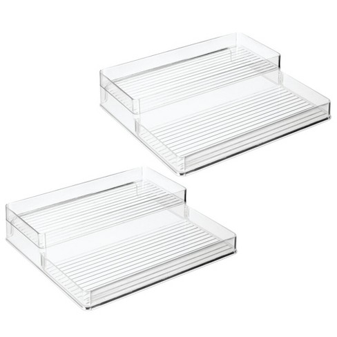 mDesign Plastic Kitchen Tiered Canned Food Storage Shelves - 2 Pack - Clear - image 1 of 4