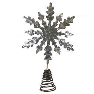"""Tree Topper Finial 13.0"""" Snowflake Tree Topper Hammered Metal Christmas  -  Tree Toppers"""