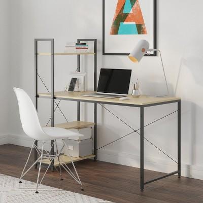 Glenwillow Home Ames Reversible Gaming Computer Desk with Adjustable Shelves, Home Office Desk, Grommet Cable Management, Leveler Feet, Easy Assembly