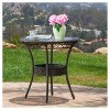"Figi Wicker 27"" Round Glass Patio Dining Table - Brown - Christopher Knight Home - image 2 of 4"
