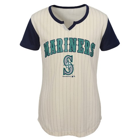 check out d30c7 4ef0e MLB Seattle Mariners Girls' In the Game Cream Pinstripe T-Shirt