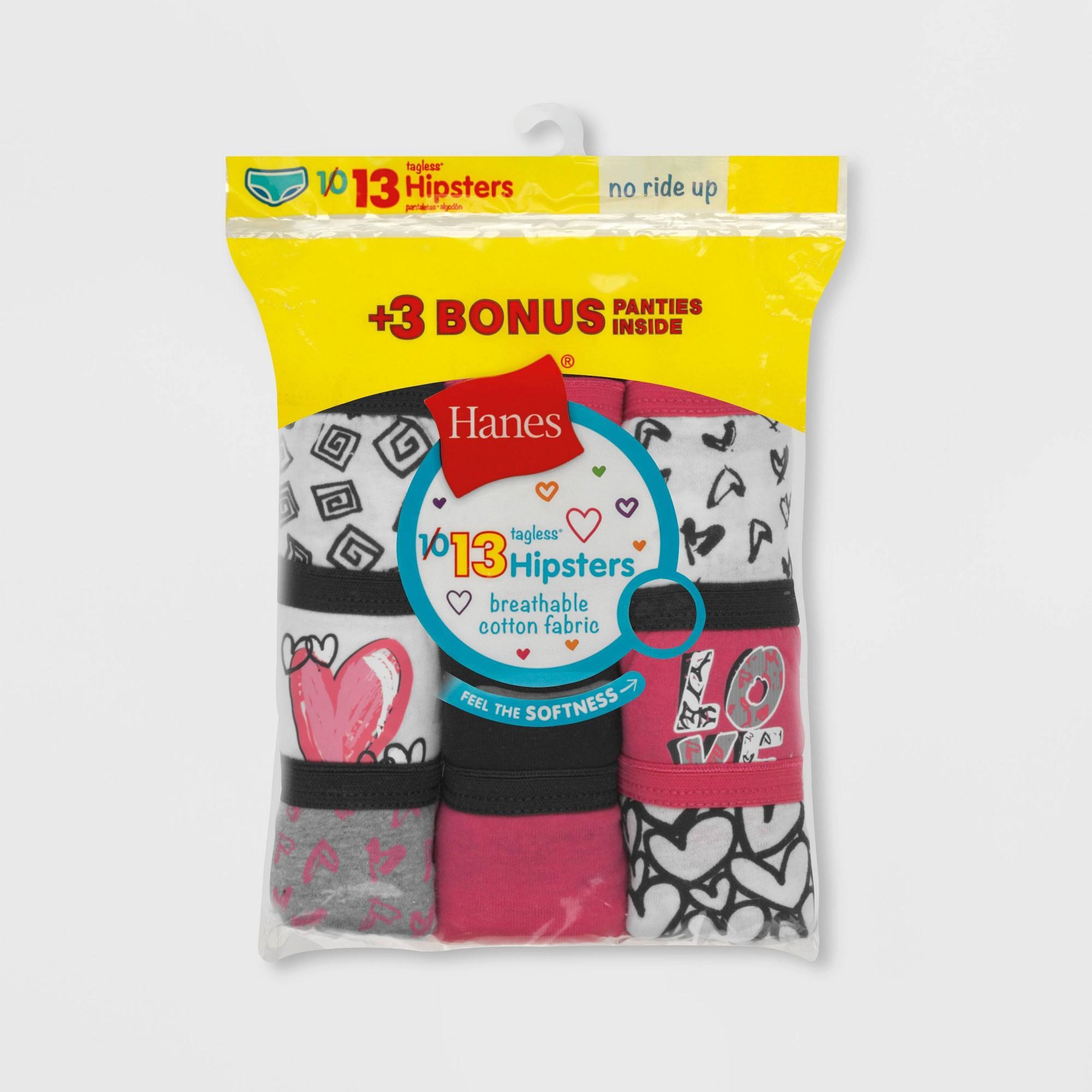 Hanes Girls' Hipster 10+3 Bonus Pack - Colors Vary 10, Girl's, MultiColored