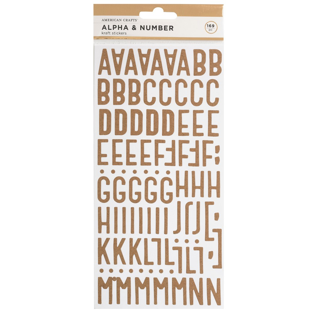 Image of 169pc Kraft Stickers Alpha & Number - American Crafts