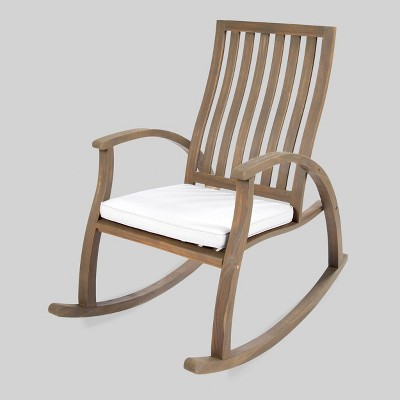 Cayo Acacia Wood Outdoor Patio Rocking Chair - Gray - Christopher Knight Home