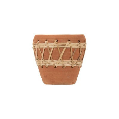 Natural Terracotta and Woven Rattan Planter - Foreside Home & Garden