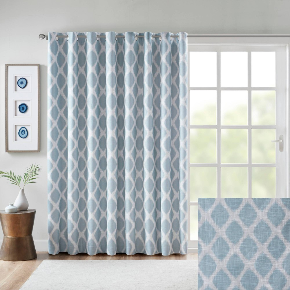 """Image of """"100""""""""x84"""""""" Etro Printed Ikat Grommet Top Blackout Extra Wide Curtain Aqua"""""""