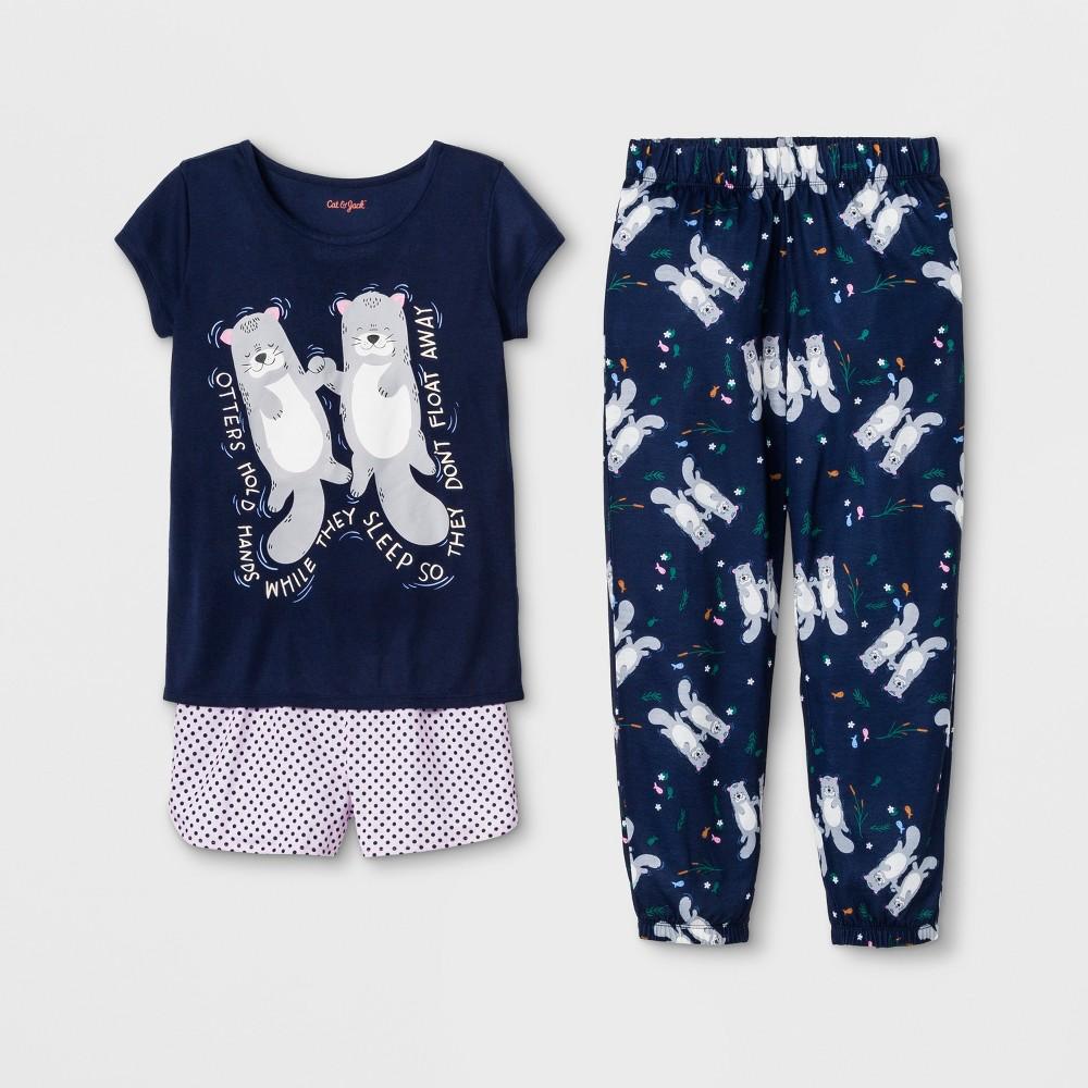 Girls' Otter Print 3pc Pajama Set - Cat & Jack Blue XL